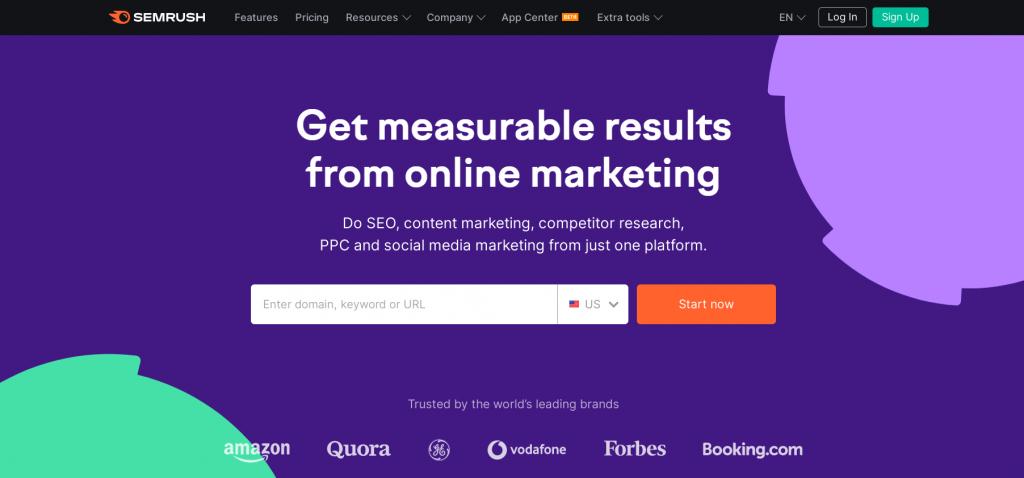 Semrush homepage