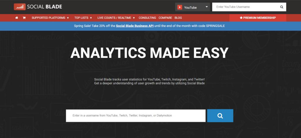 Social Blade homepage