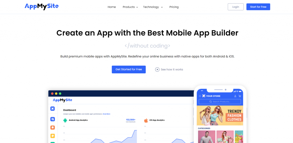 AppMySite homepage