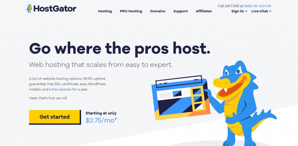 HostGator homepage