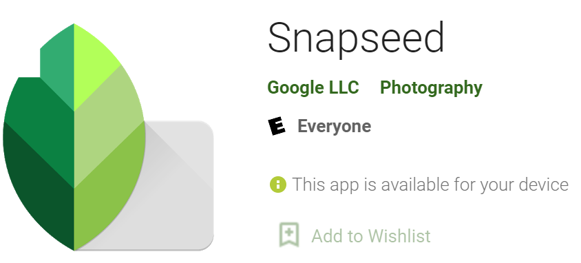 Snapseed icon and name