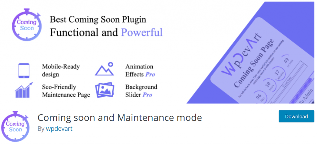 Coming Soon and Maintenance Mode wpdev