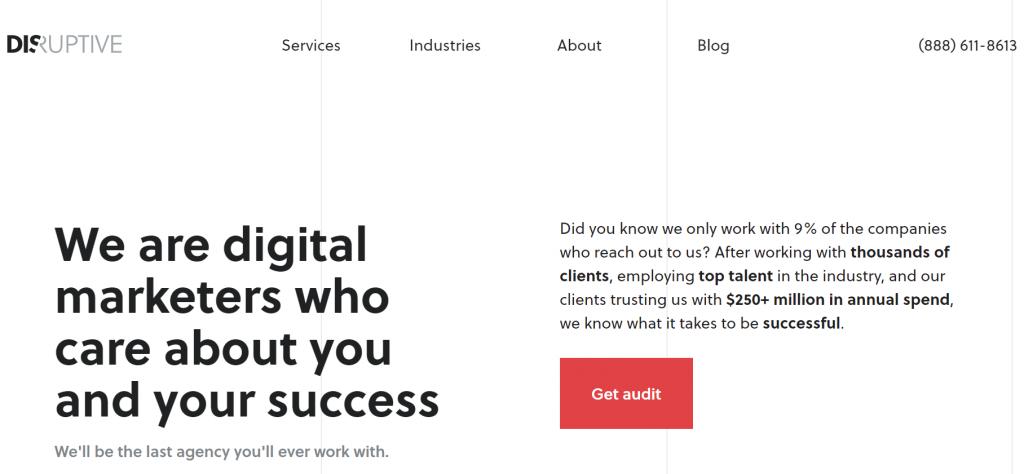 Disruptive Advertising homepage