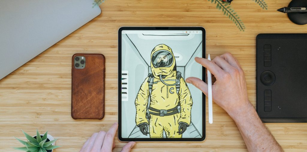 Digital art on tablet