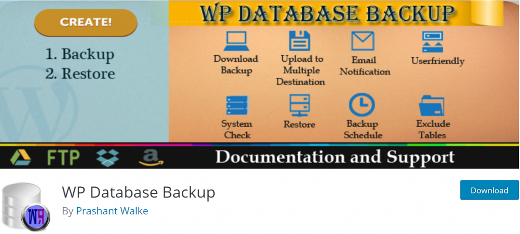 WP Database Backup banner