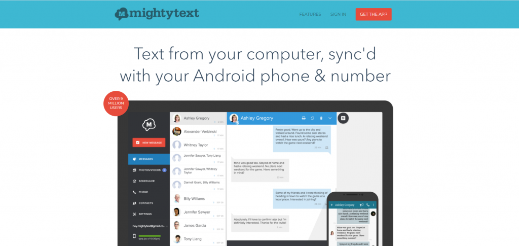 MightyText homepage