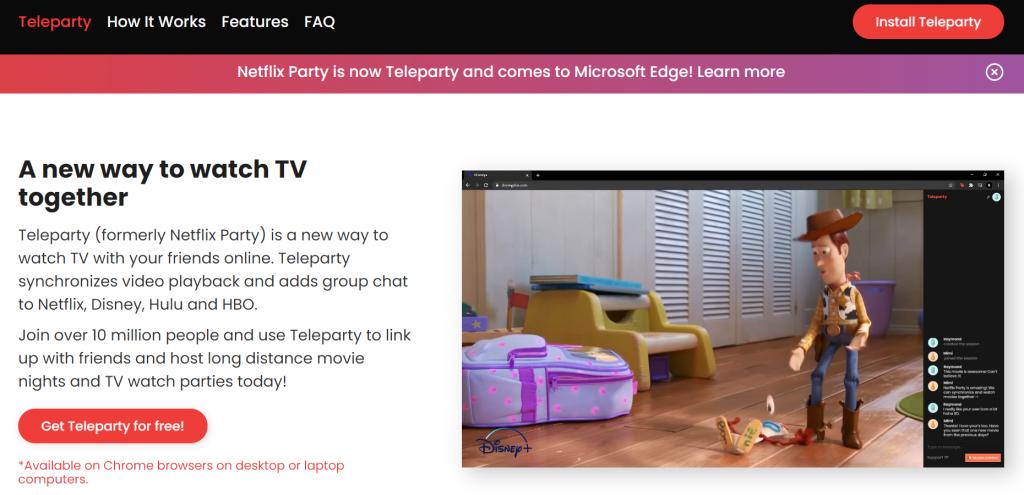 Teleparty homepage