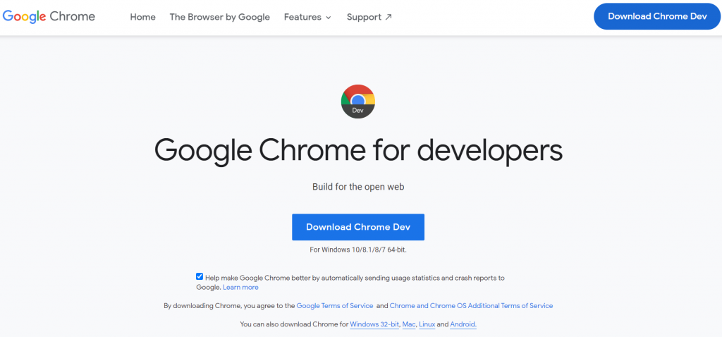 Google Chrome Developer Tools homepage
