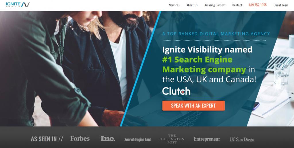 Ignite Visibility homepage