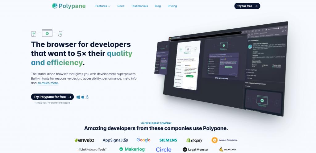 Polypane homepage