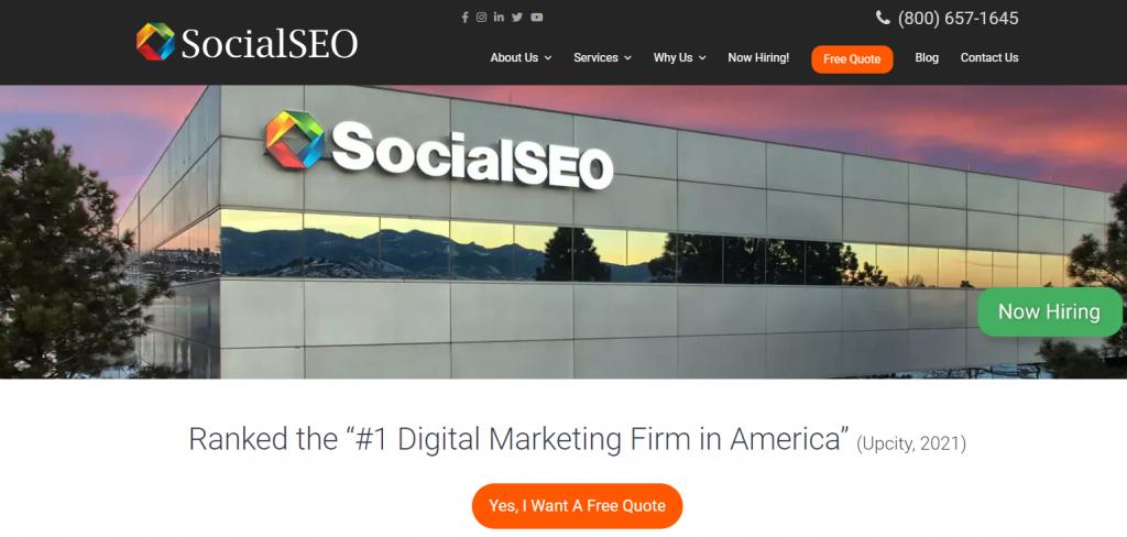 SocialSEO homepage